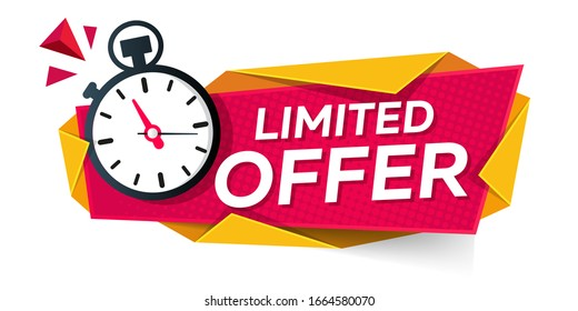 limited offer. modern banner design with stopwatch