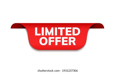 Limited offer ribbon vector banner. Red promotion label best offer price tag label for advertising