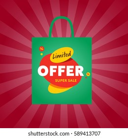 Limited offer sticker on package isolated vector illustration. Exclusive offer tag, price discount promo, super sale ad, advertisement retail label, special shopping symbol. Modern style offer sign.