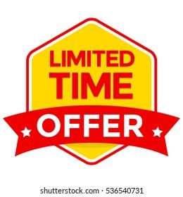 Limited time offer badge vector, flat design