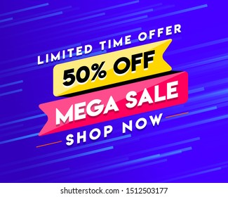 Limited Time Offer banner with 50% off Mega Sale Shop Now Button, Logo, Icon, Design, Sticker, Concept, Greeting Card Template, Poster, Unit, Label, Web, Mnemonic on blue motion background - Vector