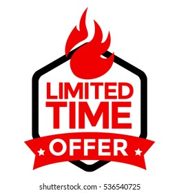 "Limited Time Offer Red Label Vector. Sticker, Icon design isolated on white with text ""Limited Time Offer""."