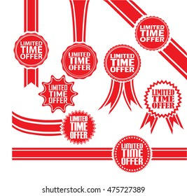 Limited time offer signs set, Limited time offer sticker set, vector illustration