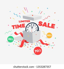 Limited time sale discount symbol with open gift, wall clock, discount labels and flying confetti. Easy to use for your design or banner with transparent shadows.