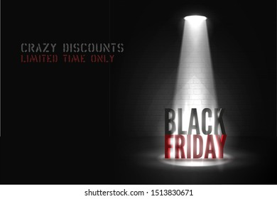 Limited time sale vector banner template. Vintage stencil font crazy discounts lettering. Powerful limelight beam illuminating Black Friday 3d inscription. Creative seasonal sale poster design layout