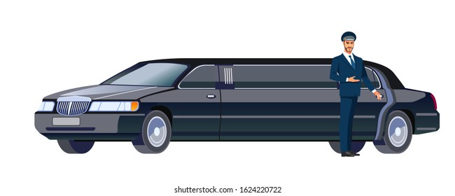 Limo driver standing next to opened car door. Cartoon, flat design vector illustration isolated on white background.