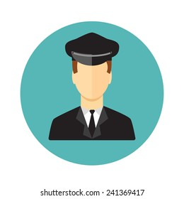 Limo, Limousine driver icon. Flat style. Vector illustration