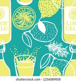 Limoncello Italian traditional drink Seamless pattern set