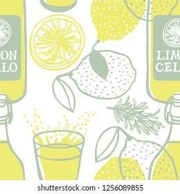 Limoncello Italian traditional lemon drink Seamless pattern set