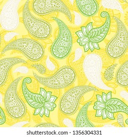 Limoncello Paisleys Vector Seamless Pattern with lemon and greenery colors for fresh mojito or spring style designs