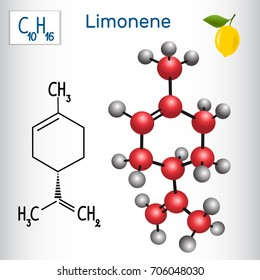 Limonene molecule - structural chemical formula and model. Cosmetic product, used in the production of flavors.Vector illustration