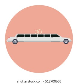 Limousine icon as a coach,  flat design. Vector illustration.
