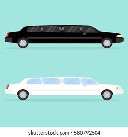 Limousine, limousine icon, long car, red carpet, celebrities. Flat design, vector illustration, vector.