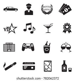 Limousine Icons. Black Flat Design. Vector Illustration.