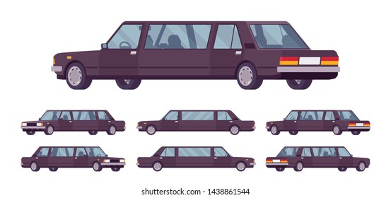 Limousine large, luxurious car set. Black expensive limo, classic comfortable vehicle for transportation service. Vector flat style cartoon illustration isolated on white background, different views