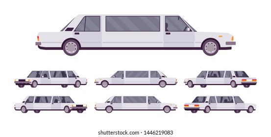 Limousine large, luxurious car set. White expensive limo, classic comfortable vehicle for transportation service. Vector flat style cartoon illustration isolated on white background, different views