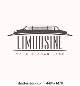 Limousine Logo Vector Illustration . Silhouette of the car . Design Concept Automotive .