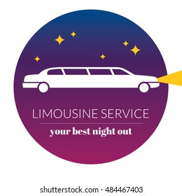 Limousine night service graphic icon sign in round. Modern vector illustration and stylish design element