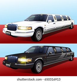 Limousine on red carpet 2 colors vector