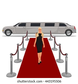 limousine with red carpet concept, flat design, vector illustration