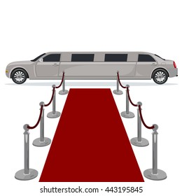 limousine and red carpet concept, flat design, vector illustration