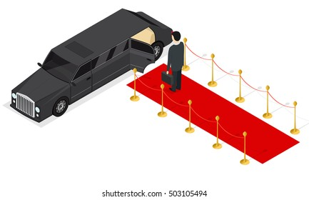 Limousine and Red Carpet Isometric View. Vector Illustration of high class Black car and the end of red carpet and businessman. Expensive, prestige, celebrity,  limo with open door