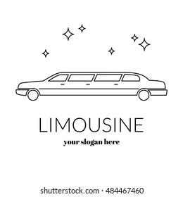 Limousine service black and white graphic outline icon sign. Modern vector illustration and stylish design element