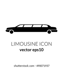 Limousine service black and white graphic icon sign. Modern vector illustration and stylish design element