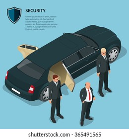 Limousine service. Businessman coming out of a limousine with the security guards. Security service.