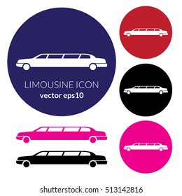 Limousine service color graphic outline icon sign with text. Modern vector illustration and stylish design element