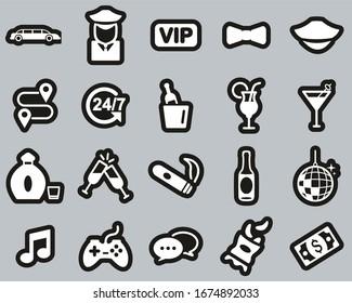 Limousine Or Limousine Service Icons White On Black Sticker Set Big