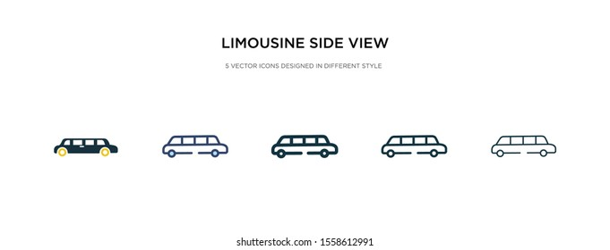 limousine side view icon in different style vector illustration. two colored and black limousine side view vector icons designed in filled, outline, line and stroke style can be used for web,
