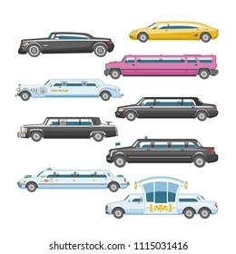 Limousine vector limo luxury car and retro auto transport and vehicle automobile illustration set of automotive transportation isolated citycar on white background illustration