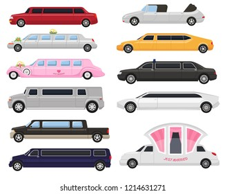 Limousine vector limo luxury car and retro auto transport and vehicle automobile illustration set of automotive citycar transportation isolated on white background illustration