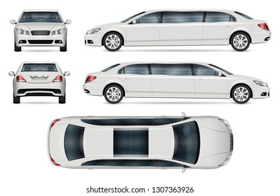 limousine vector mockup for vehicle branding, advertising, corporate identity. Isolated template of realistic car on white background. All elements in the groups on separate layers