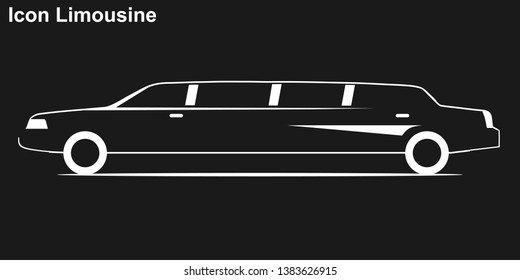 Limousine. White silhouette of a limousine on a black background. Limousine icon.
