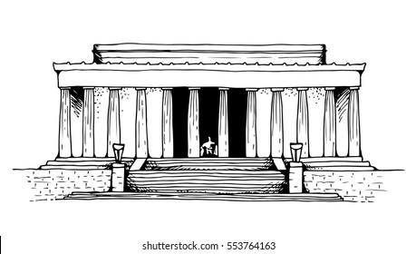 Lincoln Memorial in Washington DC, USA landmark, vector illustration isolated on white background