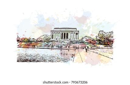 Lincoln Memorial, Washington, DC, USA. Watercolor splash with sketch illustration in vector.