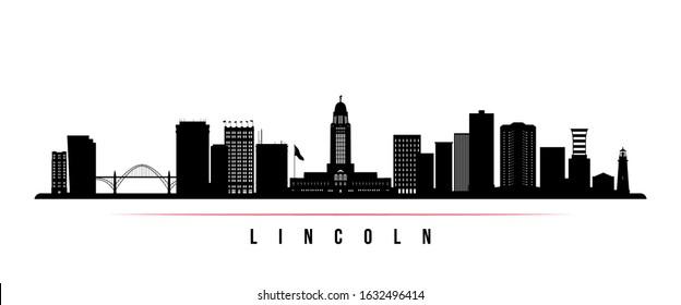 Lincoln skyline horizontal banner. Black and white silhouette of Lincoln, Nebraska. Vector template for your design.