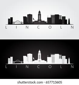 Lincoln USA skyline and landmarks silhouette, black and white design, vector illustration.