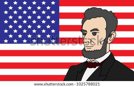Lincoln Vector Cartoon Character On American Stock Vector Royalty
