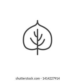 Linden leaf line icon. Foliage linear style sign for mobile concept and web design. Leaf of a linden tree outline vector icon. Symbol, logo illustration. Vector graphics