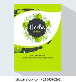 Linden vertical banners, vector illustration with round flower frame of Linden leaves and flowers. Tea Branding Element for design line art decorative linden for design herbal tea, food menu