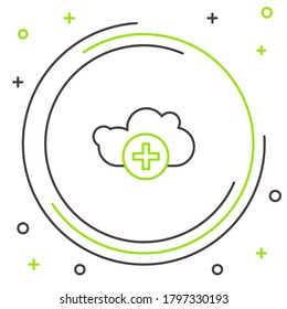 Line Add cloud icon isolated on white background. Data storage on the cloud. Colorful outline concept. Vector