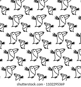 line adorable toucans wild animal background