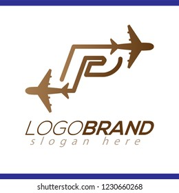 Line Airways P letter logo vector element. Initial Plane Travel logo Template