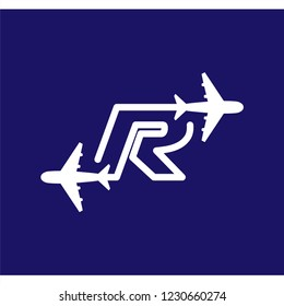 Line Airways R letter logo vector element. Initial Plane Travel logo Template