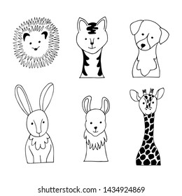 Line animals. Set of animal faces. Doodle vector illustration.