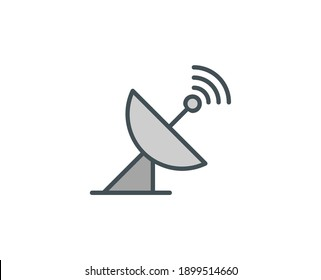 Line Antenna icon isolated on white background. Outline symbol for website design, mobile application, ui. Electronics pictogram. Vector illustration, editorial stroсk.