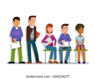 A line of applicants wating for job interview. Hopefull work employment candidates sitting & standing in a row holding CV papers in hands. Recruit competition. Flat style isolated vector illustration